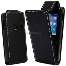 Stylish PU black leather magnetic flip case cover for Nokia 6300