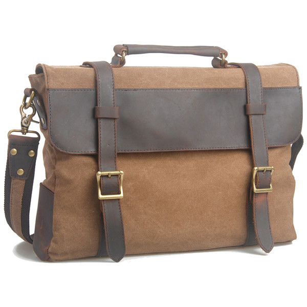 6870 Trendy Personalized Vintage Coffee Leather Canvas Messenger Bag For Men