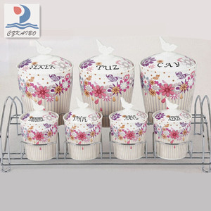 Home and restaurant use porcelain canister set with metal stand manufacture in China