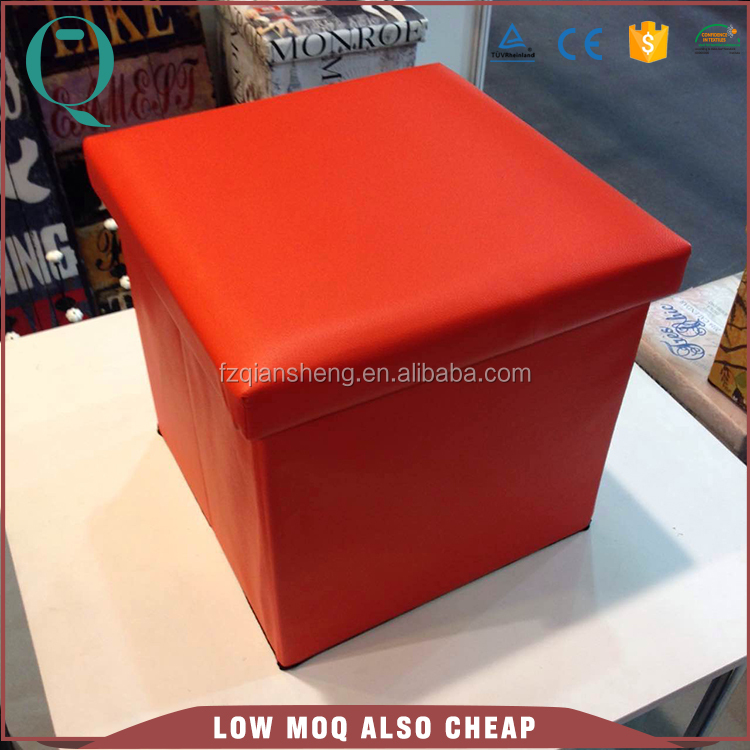 Single Popular Leather Folding Storage Stool