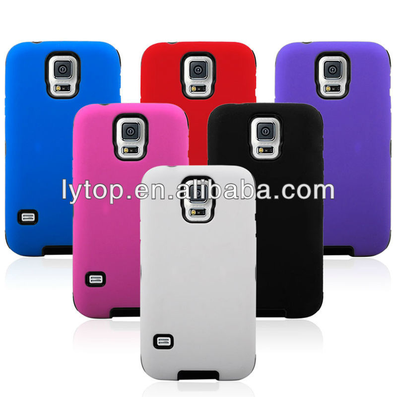2 in 1 case pc + silicone back phone case For Samsung Galaxy S5 i9600