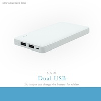 konfulon New product mobile portable power bank Dual USB charger 2A 8000mah Li-ion Battery Slim