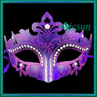 PVC-046 Yiwu Caddy New beauty crystal and rhinestone purple hallowmas pageant party face mask for sale, pvc mask