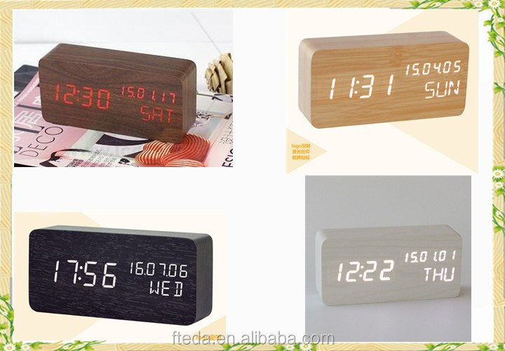 Christmas decorating Sound induction wooden led digital alarm clock