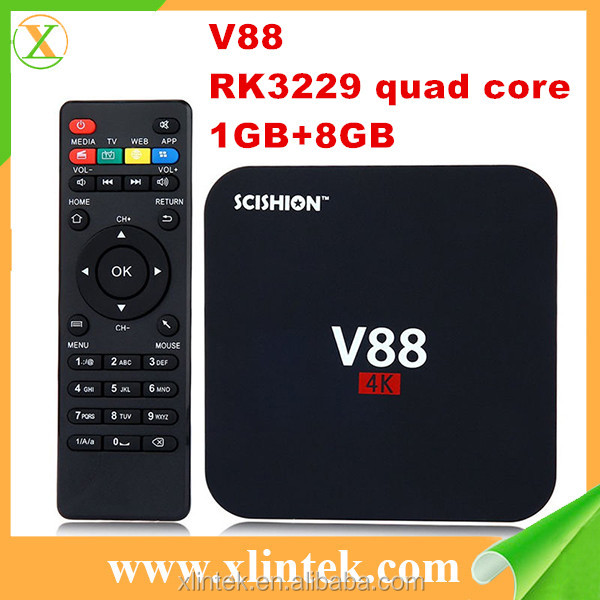 2017 The cheapest hottest selling tv box V88 Android streaming TV box RK3229 chip android 5.1 set top box V88