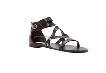 Soft flat heel genuine leather casual sandal women black fashion flat sandal shoes