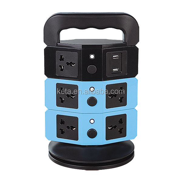 New 9 Ways Universal Type Vertical Socket USB Charging Tower Power Strip