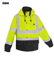 Waterproof And Windbreak High Visibility Safety Jacket With Mesh Lining