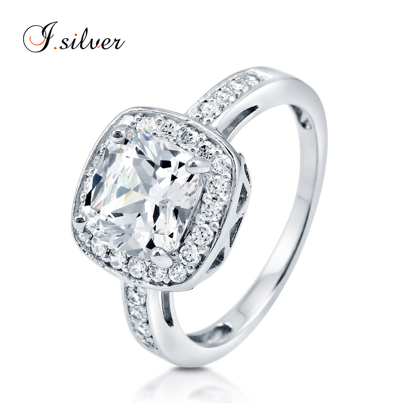 Wholesale high quality 952 sterling silver Cushion CZ Halo jewelry rings R500234