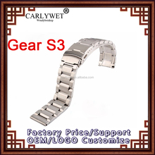 CARLYWET 22mm Silver Brushed Solid Deployment Clasp For Samsung Gear S3 smart watch Custom Link bracelet Classic For DAYTONA