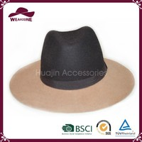 Fashion color block wool felt hat, ladies wool felt hat in Alibaba