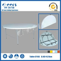 Wholesale Diameter 6ft,72inch,183cm HDPE plastic folding table,outdoor round table