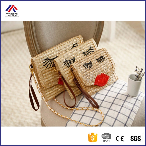 2016 S M L Cute Cool Straw Bag Rattan Clutch Purse Summer Beach Bags Wicker Chain Shoulder Straw Bag