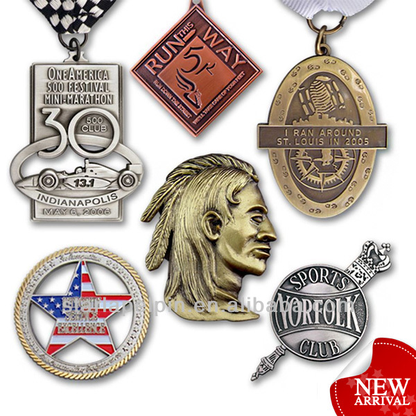 Custom 3d custom-made logo ancient metal souvenir promotional medallions