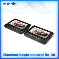 hotsale 9 inch dual monitor dual screen portable dvd player for car made in shenzhen, china