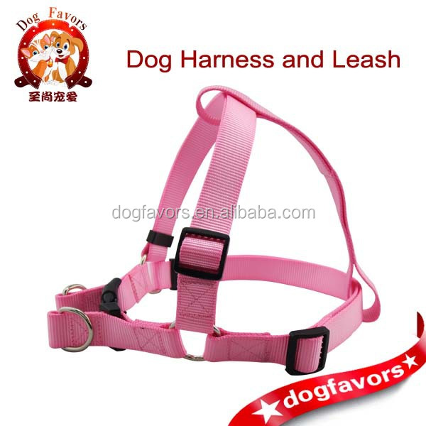 Solid Pink Nylon Webbing Dog Harnesses for Smart Pet, Good Sewing Hand Made