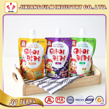 Food grade custom printed stand up bags with spout for juice and beverage liquid