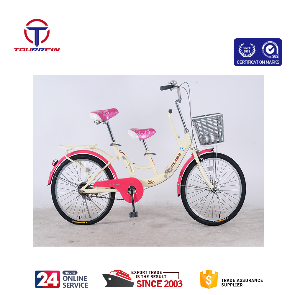 22 inch small wheels tandem bike two seats steel frame with child saddle single speed family cycle