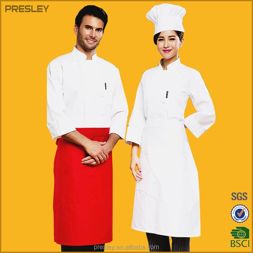 Customized Chef Uniform Hotel Uniform High Quality French Polycotton Chef Coat Uniform