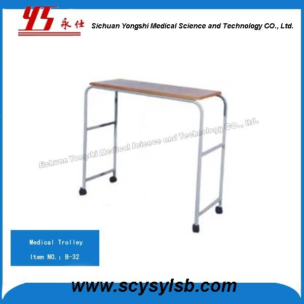 Stainless Steel Hospital Medical Movable overbed/ dining Table With Wheels