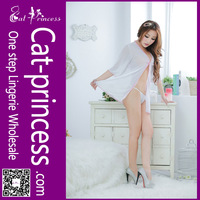 Charming design open front transparent women sexy night suit