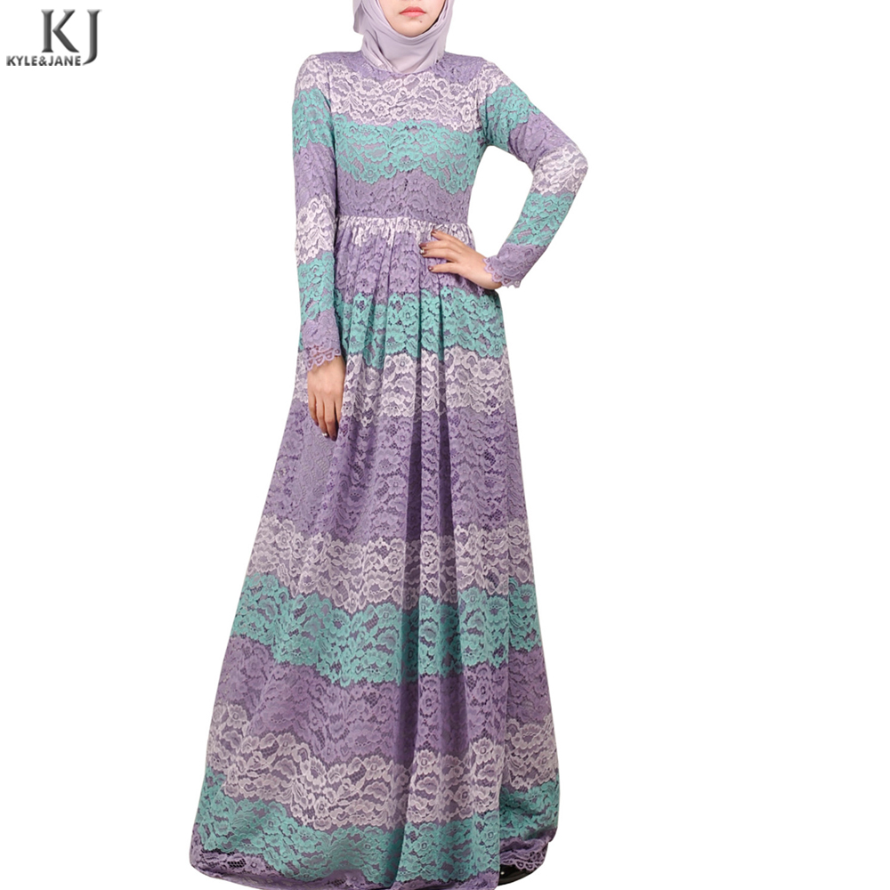 new fashion style lace umbrella cut jilbab flared skirt muslim long sleeve maxi dress made in china