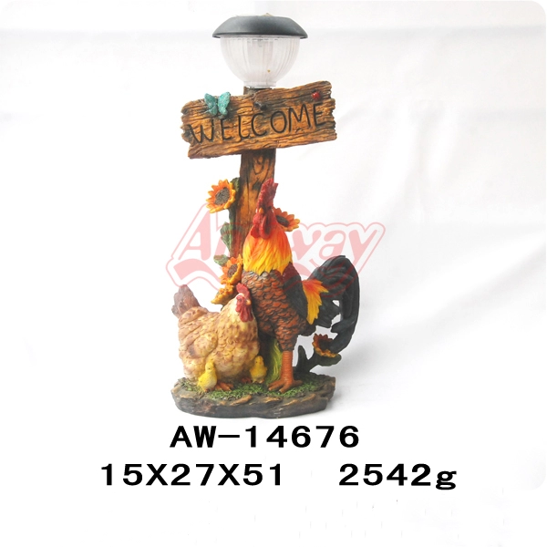 Chicken figurine solar light for garden lawn ornament