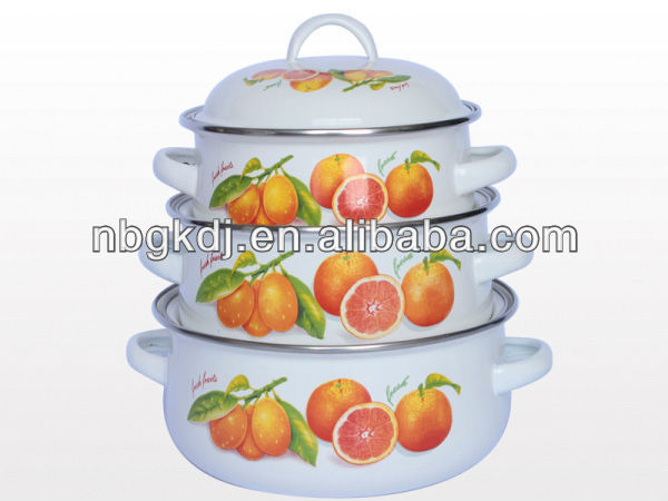 enamel small pot sets with glass lid and bakelite handle and knob