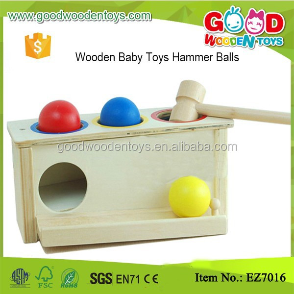 Kindergarten Natural First Learning Toy Wooden Pounding Bench for Boys