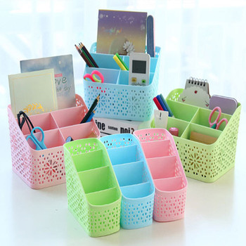 Multi-grid Office Desk Storage Box Plastic Remote Control Cosmetics Storage Box