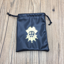 Custom mini black Soft PU leather drawstring jewelry pouch