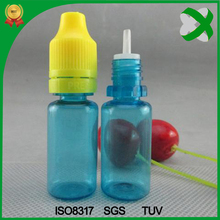 Beautiful 10ml e cigarette liquid plastic bottle with long thin tip , 10ml sky blue plastic pet bottle with tamper evident cap
