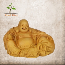 Yellow Poplar Maitreya Sculpture Wholesale Car Decoration Hand Carved Wooden Statue Chinese Buddha Wood Carving