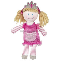 Pink Princess Soft Baby Toy Rag Doll Handmade Custom Brand LOGO Pretty Kids Stuffed Plush Girl Doll