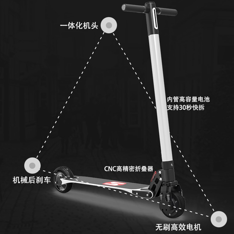 2 wheel hub motor carbon fiber folding adults lightest electric scooter