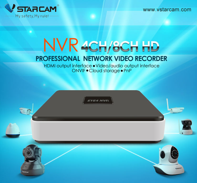 VStarcam NVR kit 8 channel support Onvif HD Security Wireless Camera wifi nvr mini nvr 8ch