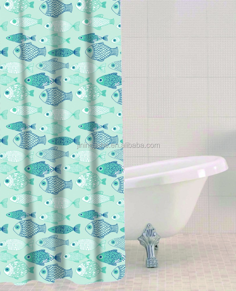 shower curtain baby fish printed, hot sale classic bathroom water repellent curtain