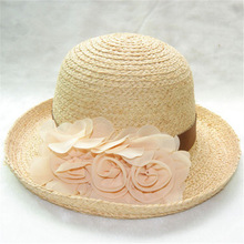 Natural Raffia European style flowers small edges curl hat women summer straw hat