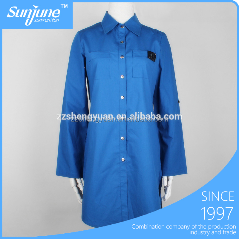 Fashion style deep blue plus size woman long shirt with pocket