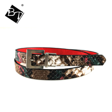 BT Decorative Lady Pu Leather Python Turn Buckles Snake Skin Thin Women Waist Belt