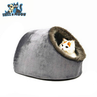 China Grey Plush Folding Lovely Cotton Pet Dog Foam Cave Bed House