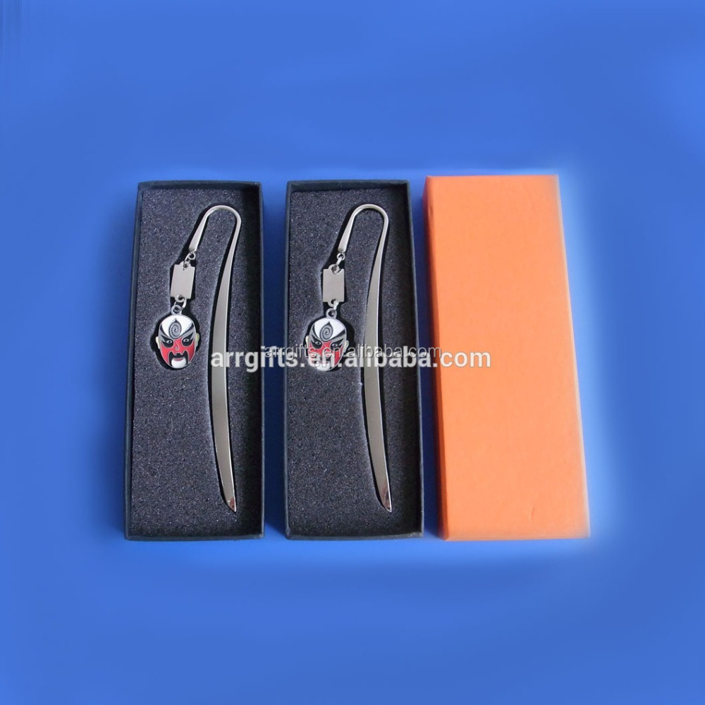 Custom silver hairpin style Peking Opera mask logo metal book mark with custom gift box