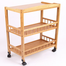 Bathroom Storage <strong>Shelf</strong> with Wheels Bamboo Display <strong>Shelf</strong>