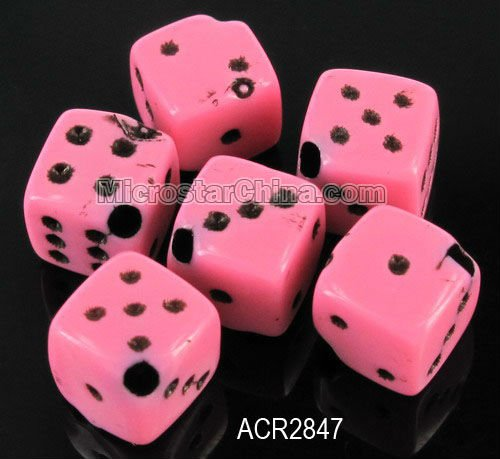 Beautiful pink acrylic mixed cube dice beads