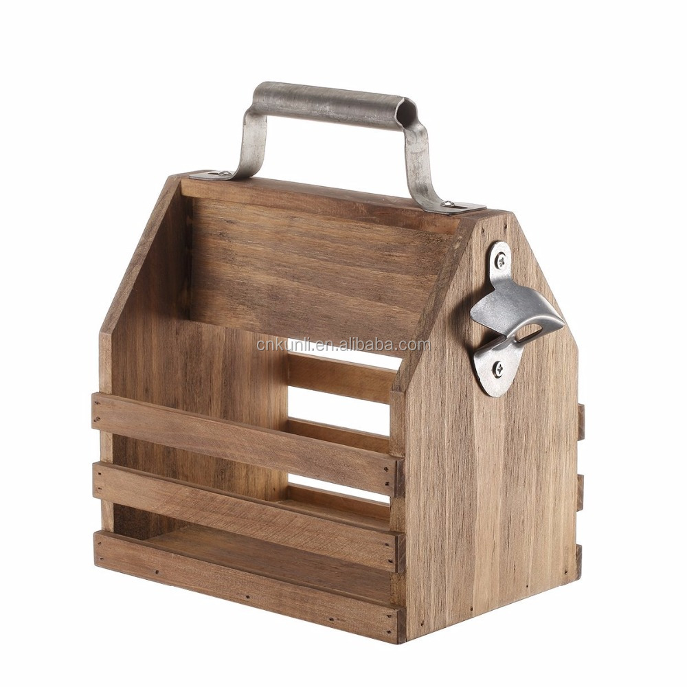 Wooden Beer Bottle Caddy/Carrier/Holder/Basket/Tote with Built-in Bottle Opener and Metal Handle Vintage Style 10.25-inch