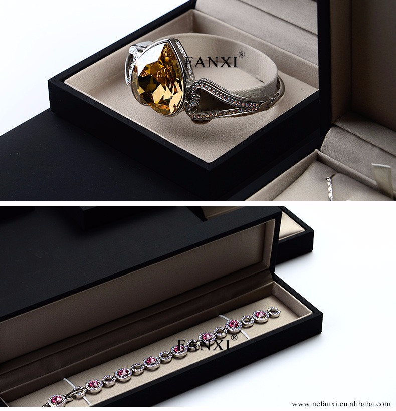 FANXI Custom Leatherette Paper Jewellery packaging Boxes with silk insert For Necklace Bracelet Packing Black Jewelry Ring Box