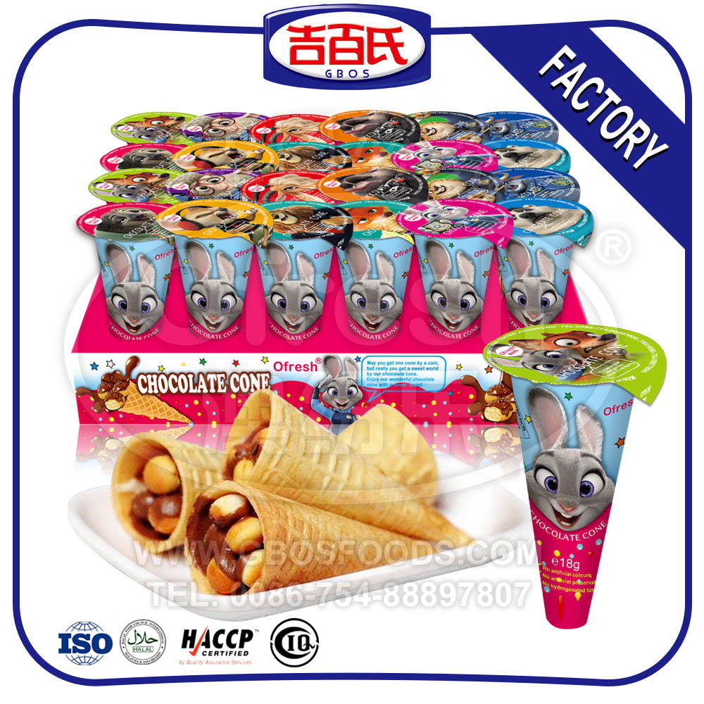2017 Best Quality Crispy Biscuit Ice Cream Cone Chocolate With Tray