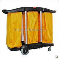 Plastic Service Cart with Wheels Janitor cart
