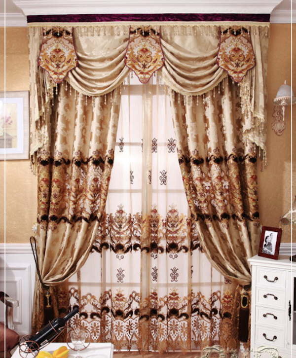 European Style Living Room CurtainLuxury Embroidery Curtains Fabric With Valance