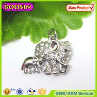 Wholesale couple Mon and Son silver elephant pendants and charms #17105